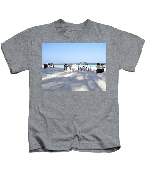 Kenya Wedding On Beach Wide Scene Kids T-Shirt