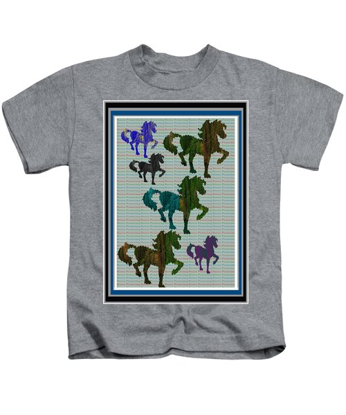 Kids Fun Gallery Horse Prancing Art Made Of Jungle Green Wild Colors Kids T-Shirt