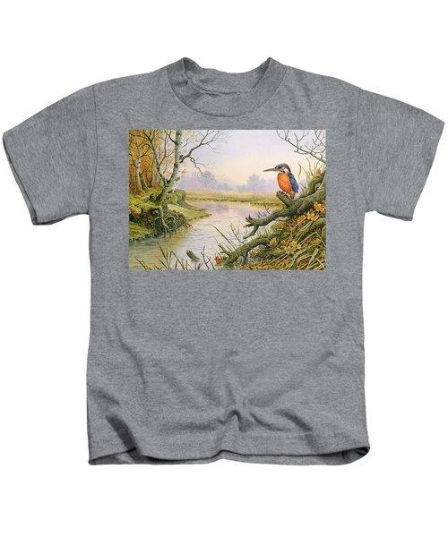 Kingfisher  Autumn River Scene Kids T-Shirt