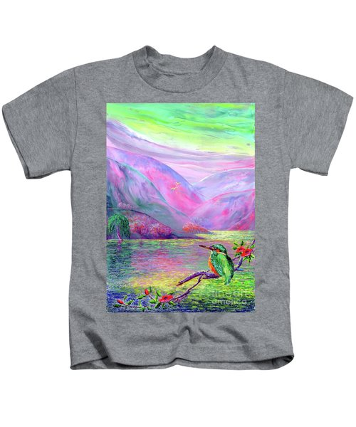 Kingfisher, Shimmering Streams Kids T-Shirt by Jane Small
