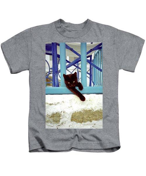 Kitten With Blue Rail Kids T-Shirt