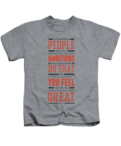 Lab No. 4 Keep Away From People Mark Twain Inspirational Quote Kids T-Shirt