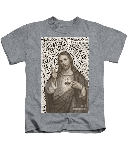 Lace Card Depicting The Sacred Heart Of Jesus Kids T-Shirt