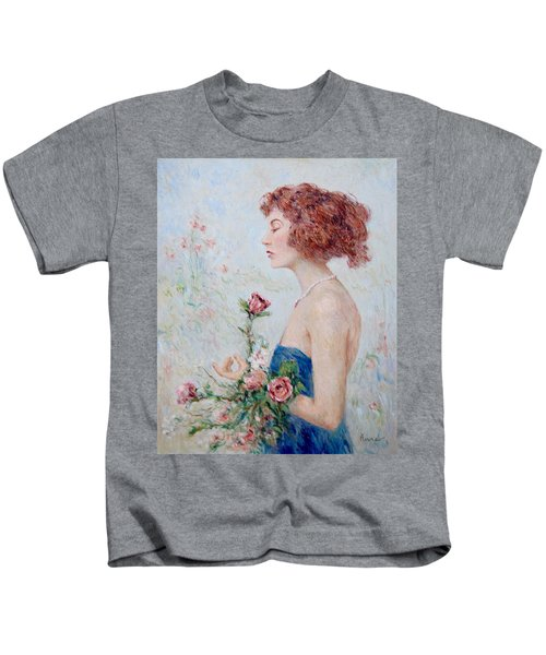 Lady With Roses  Kids T-Shirt