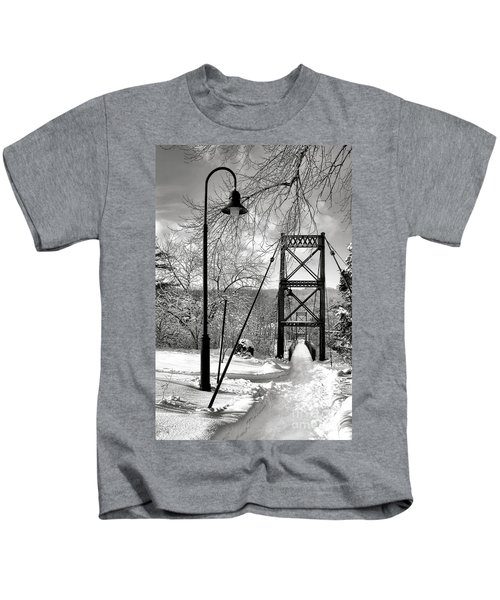 Lamppost And Androscoggin Swinging Bridge In Winter Kids T-Shirt