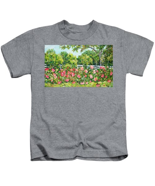 Landscape With Roses Fence Kids T-Shirt