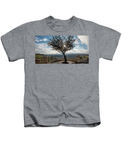 Large Tree Overlooking The City Of Jerusalem Kids T-Shirt