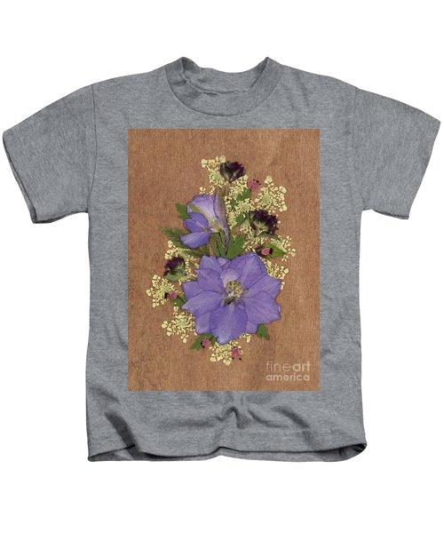 Larkspur And Queen-ann's-lace Pressed Flower Arrangement Kids T-Shirt