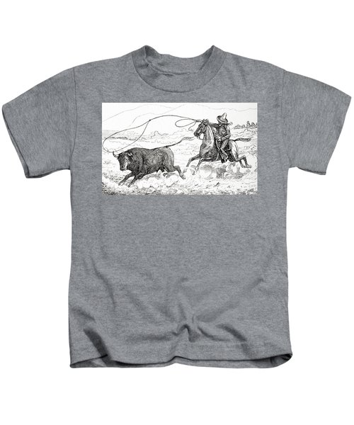 Lassoing A Bull In South America In The 19th Century Kids T-Shirt