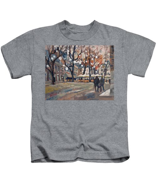Late November At The Our Lady Square Maastricht Kids T-Shirt by Nop Briex