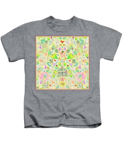 Leaf And Flower And Heart Pattern  Kids T-Shirt