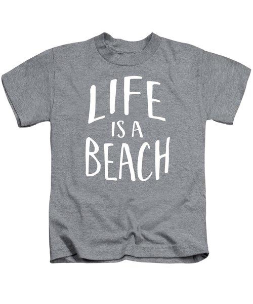 Life Is A Beach White Ink Tee Kids T-Shirt