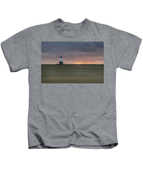 Lighthouse And Sunset Kids T-Shirt
