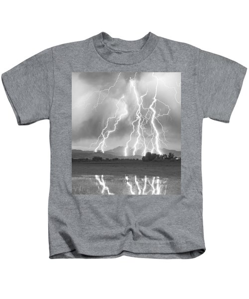 Lightning Striking Longs Peak Foothills 4cbw Kids T-Shirt