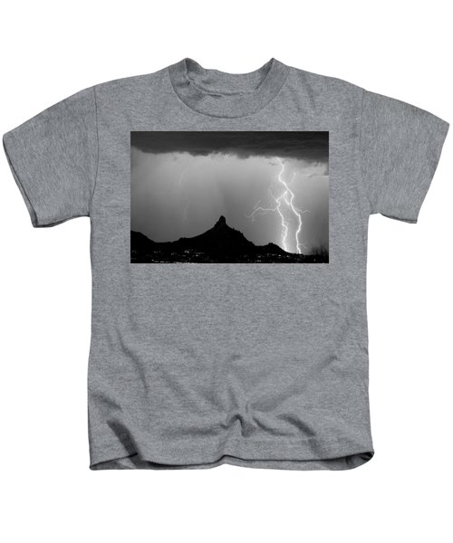 Lightning Thunderstorm At Pinnacle Peak Bw Kids T-Shirt