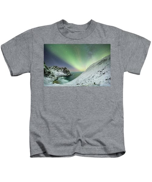 Lights Above Kvalvika Kids T-Shirt