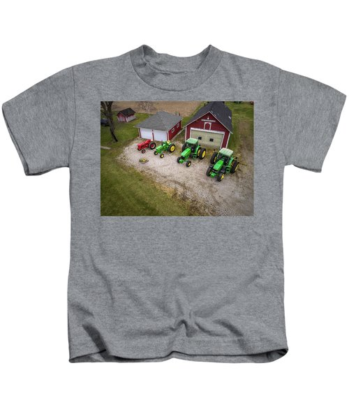 Lining Up The Tractors Kids T-Shirt