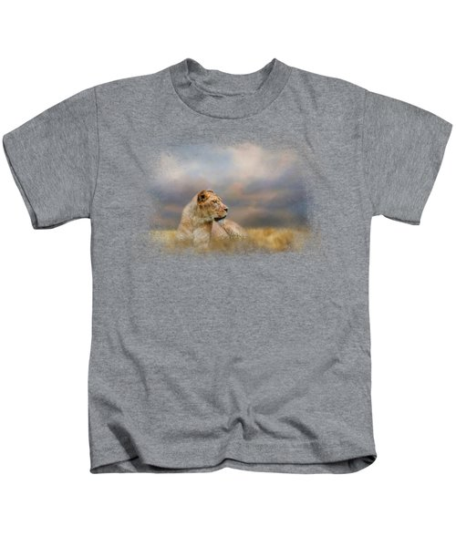 Lioness After The Storm Kids T-Shirt by Jai Johnson