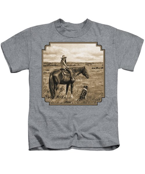 Little Cowgirl On Cattle Horse In Sepia Kids T-Shirt by Crista Forest