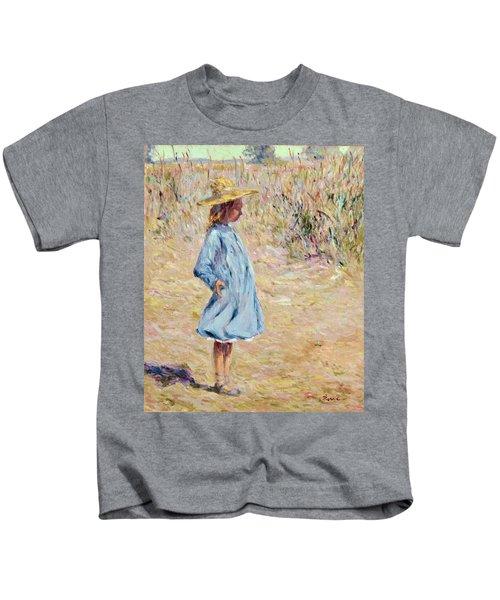 Little Girl With Blue Dress Kids T-Shirt