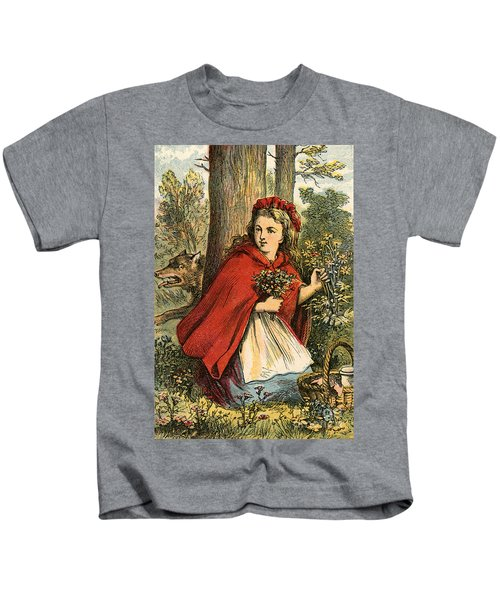 Little Red Riding Hood Gathering Flowers Kids T-Shirt
