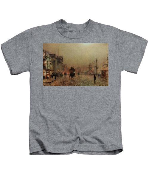 Liverpool Docks By Moonlight Kids T-Shirt