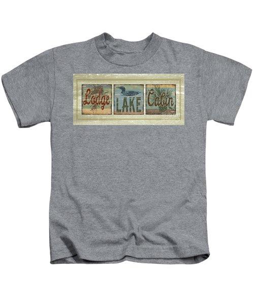 Lodge Lake Cabin Sign Kids T-Shirt by Joe Low