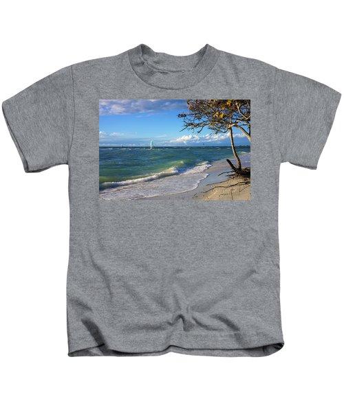 Lone Windsurfer At Wiggins Pass Kids T-Shirt