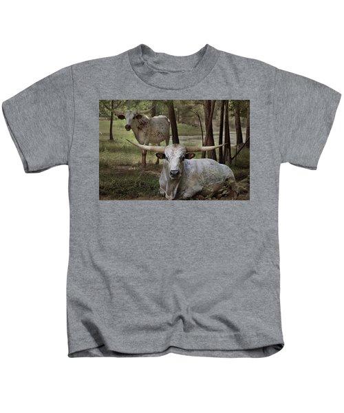 Longhorns On The Watch Kids T-Shirt