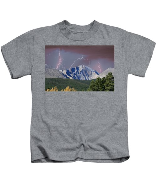 Longs Peak Lightning Storm Fine Art Photography Print Kids T-Shirt