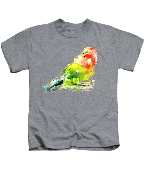 Lovebird Watercolor Painting Kids T-Shirt