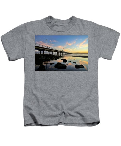 Low Tide Reflections At The Pier  Kids T-Shirt