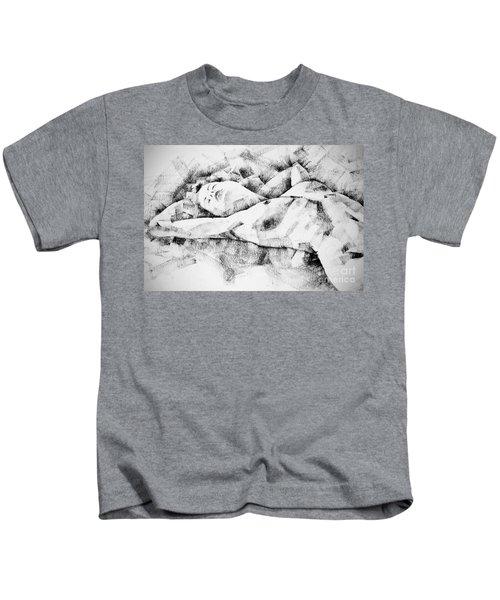 Lying Woman Figure Drawing Kids T-Shirt