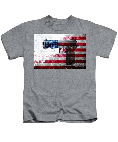 M1911 Colt 45 And American Flag On Distressed Metal Sheet Kids T-Shirt