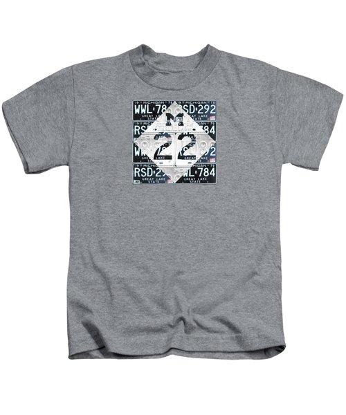 M22 Michigan Highway Symbol Recycled Vintage Great Lakes State License Plate Logo Art Kids T-Shirt