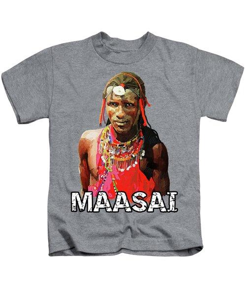 Maasai Moran Kids T-Shirt by Anthony Mwangi