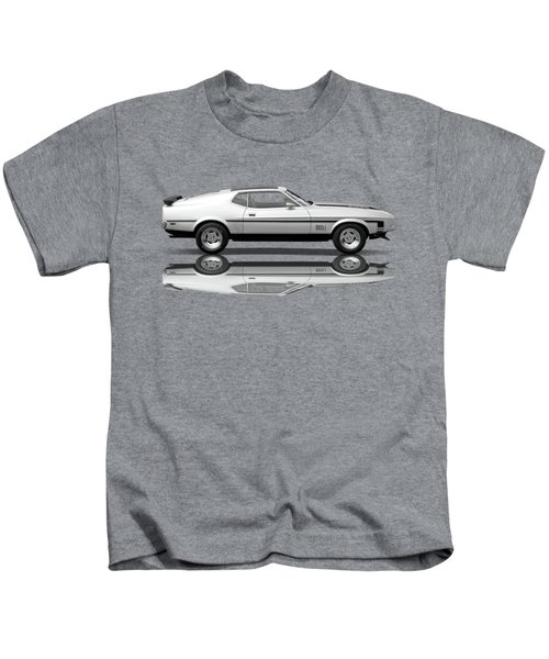 Mach 1 Mustang Reflections In Black And White Kids T-Shirt
