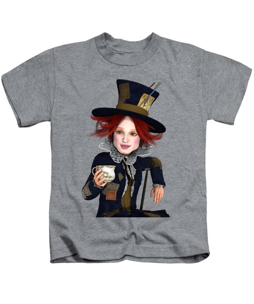 Mad Hatter Portrait Kids T-Shirt by Methune Hively