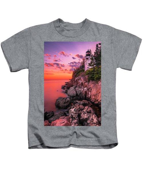 Maine Bass Harbor Lighthouse Sunset Kids T-Shirt