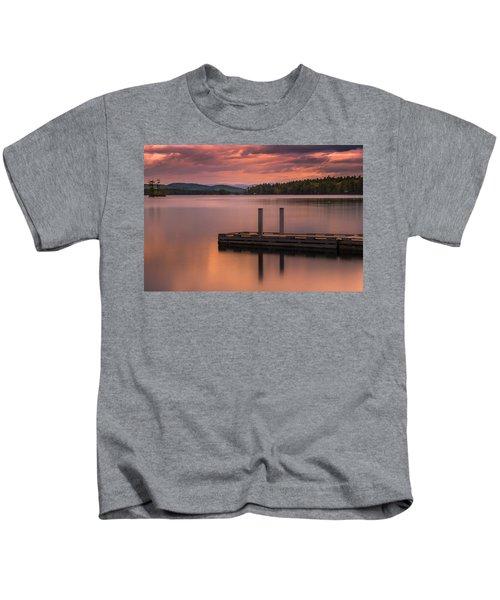 Maine Highland Lake Boat Ramp At Sunset Kids T-Shirt