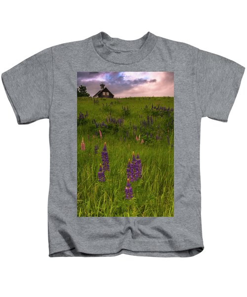 Maine Lupines And Home After Rain And Storm Kids T-Shirt