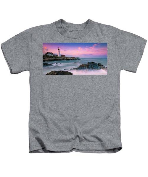 Maine Portland Headlight Lighthouse At Sunset Panorama Kids T-Shirt