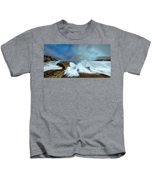 Maine Rocky Coast During Storm At Two Lights Kids T-Shirt
