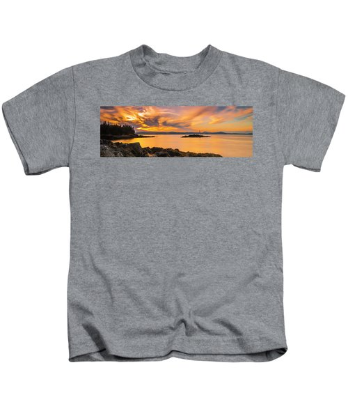 Maine Rocky Coastal Sunset In Penobscot Bay Panorama Kids T-Shirt