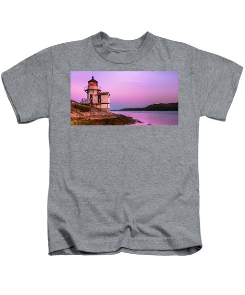 Maine Squirrel Point Lighthouse On Kennebec River Sunset Panorama Kids T-Shirt