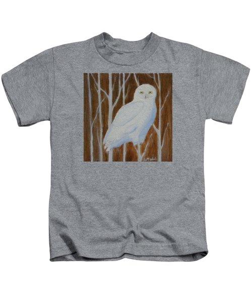 Male Snowy Owl Portrait Kids T-Shirt