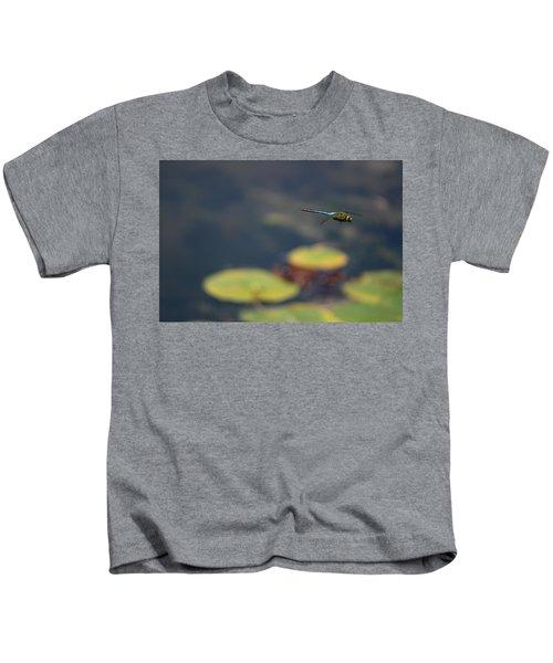 Malibu Blue Dragonfly Flying Over Lotus Pond Kids T-Shirt