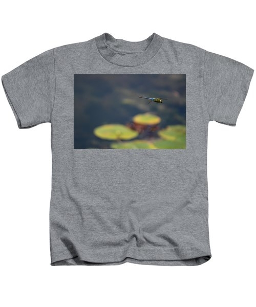 Malibu Blue Dragonfly Flying Over Lotus Pond Kids T-Shirt