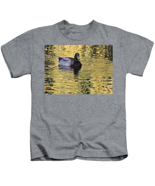 Mallard Drake On Gold Kids T-Shirt