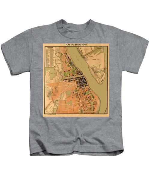 Map Of Phnom Penh 1920 Kids T-Shirt